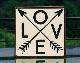 Love Arrow Wood Sign