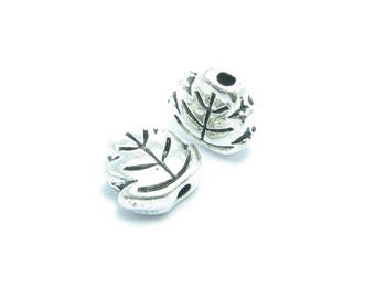 BEAD 7mm silver color leaf