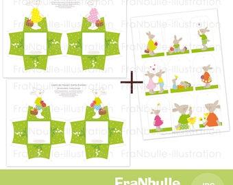 Décoration papier lapin de Pâques, kit imprimable Pâques, déco à imprimer lapin, printable Pâques, printable decor Pâques, Easter, bunny