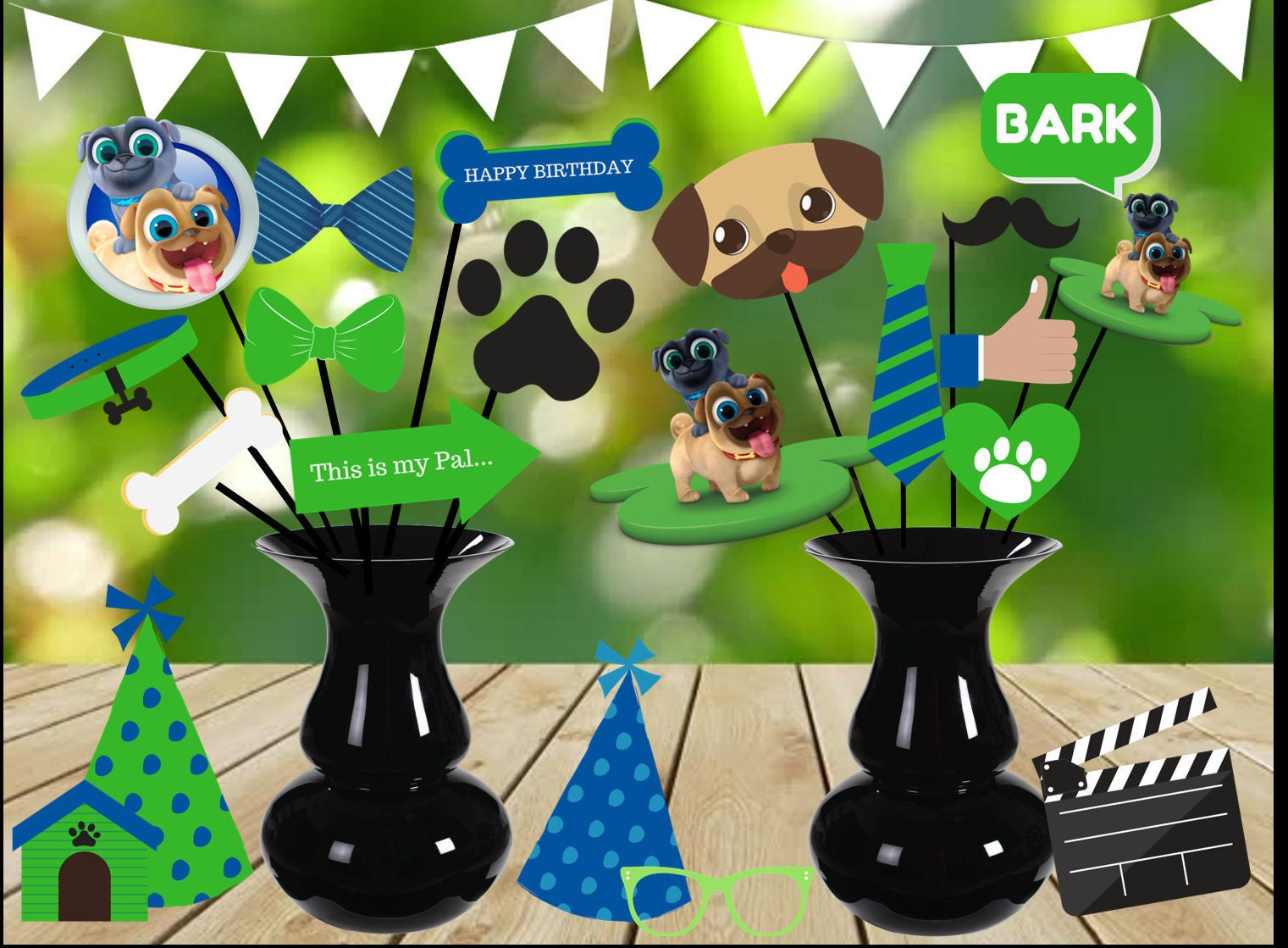 Puppy Dog Pals Photo Props Dog Party Decorations