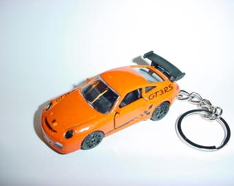 3D Porsche 911 GT3 RS custom keychain by Brian Thornton keyring key chain finished in orange color trim diecast metal body opening doors