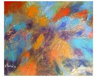 orange acrylic in relief of many colors, abstract painting painting format73x60