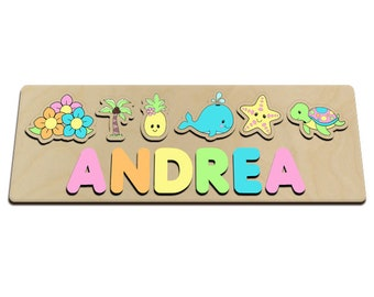 Tropical Pineapple Personalized Wooden Name Puzzle for One (1) Two (2) Names Pastel Colors Great for Long Name 601288539