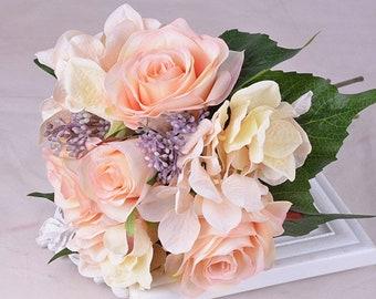 Bridal Bouquet, Silk Rose and Hydrangea Bouquet, Artificial Bouquets DIY(1 bunch )