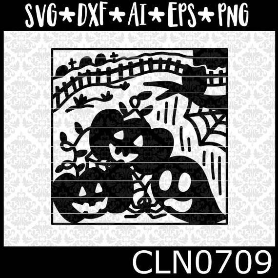 CLN0709 Halloween Scene Glass Block Haunted Pumpkins Ghost SVG DXF Ai Eps PNG Vector Instant Download Commercial Cut File Cricut Silhouette