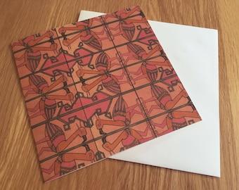 Vintage 1970s Textile Design Greeting Card, 'Flamingos' *NEW LISTING*