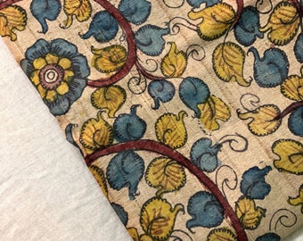 Handpainted Kalamkari using natural dye on handwoven tussar silk yardage / saree / dupatta