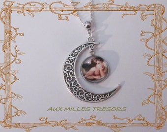 Necklace long necklace angel on moon silver