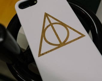 Harry Potter Wood iPhone 6 7 Phone Case Dark Deathly Hallow Laser Etch White Painted Wood 6s 7 Plus