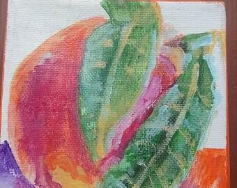 Peach painting, fruit artwork, vegetable art, food painting, still life, daily painting, tiny artwork, mini canvas, original artwork