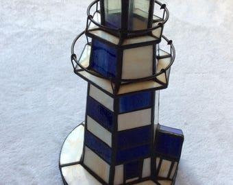 Gorgeous vintage blue white stained glass lighthouse accent lamp