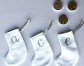 CUSTOM ORDER: Little Christmas Stockings Advent Calendar numbers 1-25 in white/ silver.