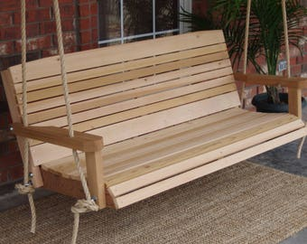 Brand New 6 Foot Cedar Wood Colonial Porch Swing with Hanging Rope - Free Shipping