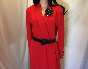 Vintage St John Collection By Marie Gray Womens Red Knit Dress Black and White Flower Pin Size 6