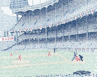 "New York Yankees - Yankee Stadium Word Art Print - EVERY YANKEE EVER - Yankees Wall Art - New York Yankees Poster - 16""x20"" - Free Shipping"
