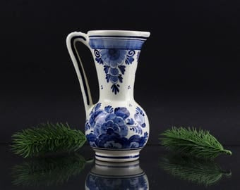 Vintage Delfts Blue Porcelain Handmade Made in Holland Precious Handmade Jug Table Decoration Porcelain Vase