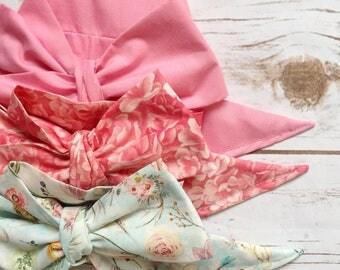 Gorgeous Wrap Trio (3 Gorgeous Wraps)- Dusty Rose, Primrose Floral & Boho Floral Gorgeous Wraps; headwraps; fabric head wraps; bows