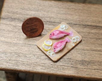 Miniature, realistic, sea bass. For doll houses in 1:12 scale