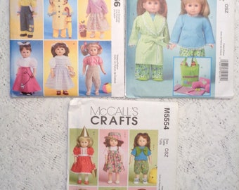 "18"" Doll Clothes Patterns (Lot of 3) McCalls-M5019_M5554_4066_Coats.Dresses.Pants.Tops.Costumes.Nightgown.Accessories_New-Uncut"