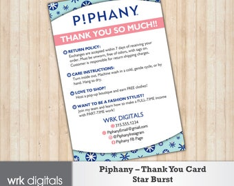 Piphany Care Card, Thank You Card, Star Burst Design, Customized Design, Direct Sales, Fashion Stylist, Return Policy