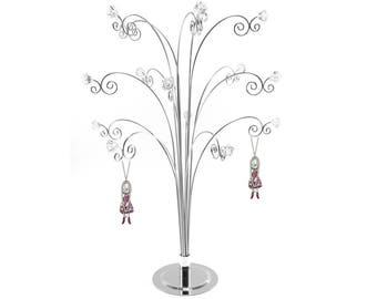 Jewelry Tree Metal Earring Jewellery Display Holder Stand Silver Necklace Rings with GEM