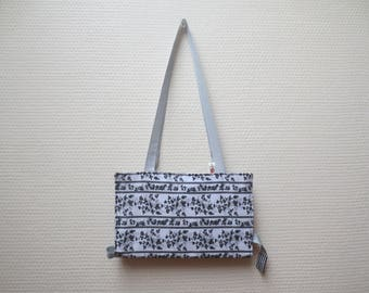 Pocket Book purse fabric black gray and white with bookmark