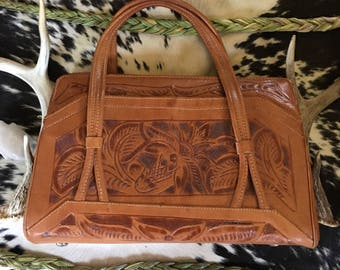 Tooled Leather Purse-Vintage Tooled Leather Purse-Top Handle Purse-Tooled-Vintage Brown Leather Purse-Western-Boho