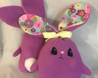 "Soft  and Huggable Purple Fleece Bunny Rabbit  7"" (not counting ear length)"