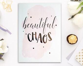 beautiful foil print, foil print, beautiful chaos, copper foils, rose gold, silver foils, home decor, foil quotes, prints for home