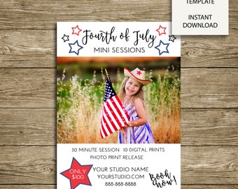 "Fourth of July Mini Sessions ""Stars"" - 5x7 Photoshop Marketing Template - INSTANT DOWNLOAD"