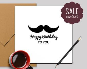 Birthday Card for Him, Happy Birthday Card - Moustache Happy Birthday Card - Square Card 140x140mm
