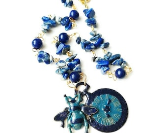 Bee clock pendant deep blue locket necklace gemstone chain hand painting jewelry Bee clock fase metal lapis lazuri Watch Bee metal pendant