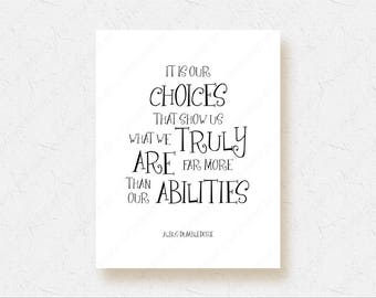 Harry Potter Gift Poster Albus Dumbledore Quote Harry Potter Movie Black and White Wall Decor It Is Our Choices Art Chamber of Secrets 1003
