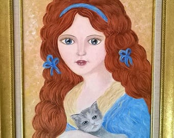 "Acrylic painting ""Portrait of a romantic girl with kitten"""