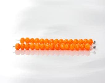 2588_Orange neon beads 4x3 mm, Faceted roundels crystals, Neon beads, Rondelle glass beads, Crystals beads, Jewelry crystal beads_145 pcs.