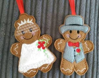 Gingerbread Bride or Groom Christmas Tree Decoration
