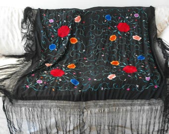 Vintage Black Floral Embroidered Piano Scarf Shawl Long Fringe