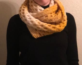 Yellow Honeycomb Cable Infinity Scarf