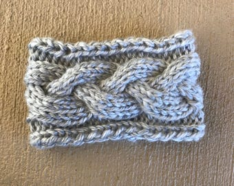 Knit Braided Cable Headband - Grey