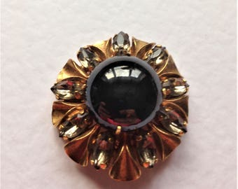 Vintage Black Glass Brooch, Opaque Gem Brooch, 1930's Brooch, Vintage Brooch