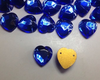 Rare Vintage 12x10mm faceted Sapphire Blue heart beads glass gems- gold foiled flat back - Vintage Czech glass beads