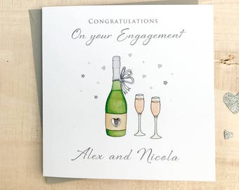 Personalised Engagement Card - Handmade Personalised Engagement Card - Personalised Congratulations Card - On your Engagement Card