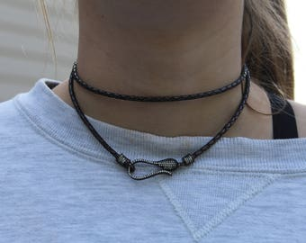 Wrap Leather Necklace with Front Clasp