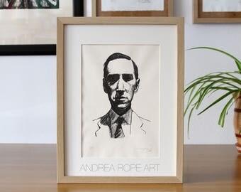 """Original Print. """"H. P. Lovecraft"""". Litography, handmade/Fabriano Unica 200gr"""