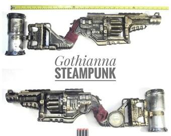 Steampunk Gun Nerf Gun LARP cosplay gun: 2.5ft long handpainted customise working Nerf Zombie strike gun and 4 bullet and Grenade Free P&P