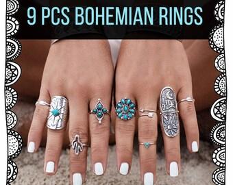 Bohemian Geometry Rings 9 Pcs/Set
