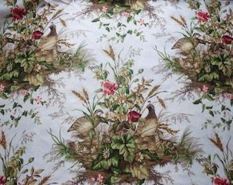 SCALAMANDRE EDWIN'S COVEY Pheasant Linen Toile Fabric 10 Yards White Multi