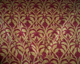 DESIGNER TRELLIS MANOR Fleur De Lis Renaissance Cut Velvet Fabric 10 Yards Burgundy Gold