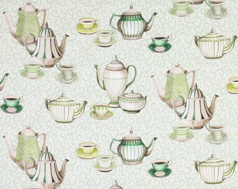 MANUEL CANOVAS TEA Pots Cups Toile Fabric 10 Yards Emerald Green Multi