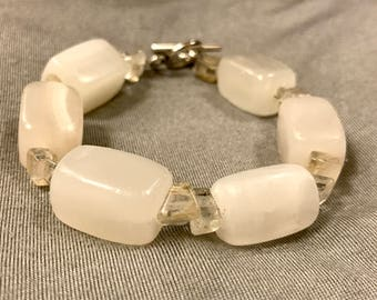 White Stone Beaded Bracelet, Chunky White Bracelet, Stone Bracelet